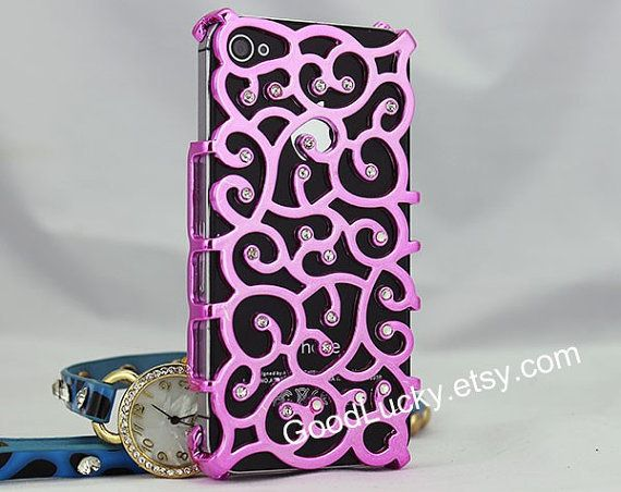 Purple iPhone 4 case,iPhone 4S case,hollow shell flower vine,iPhone 5 case,iPhone 5s case,studded iPhone case,bling iphone case,iphone case on Wanelo