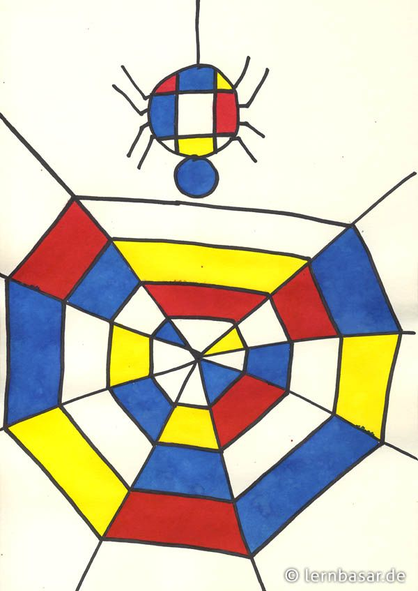 Spinnennetz a la Piet Mondrian #spinnennetzbasteln