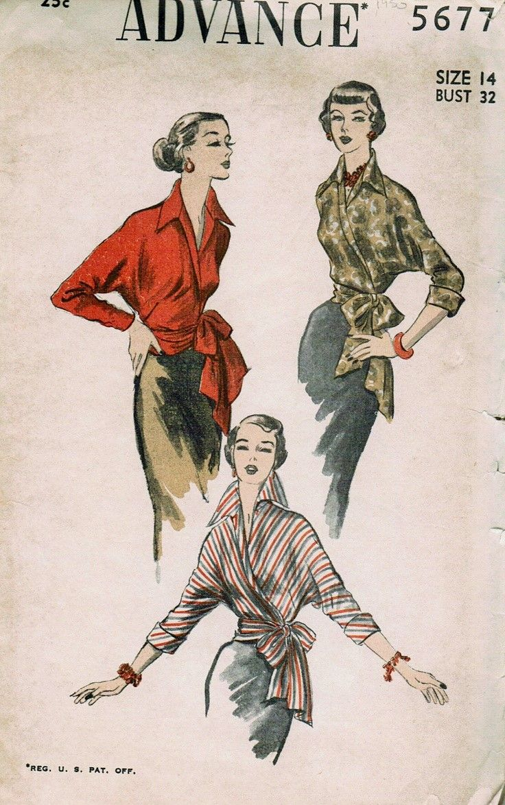 Advance # 5677 dated 1950. Front wrap blouse features wing collar ...
