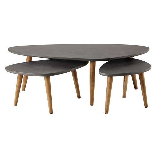 3 Tables Basses En Bois Grise L 50 A L 120 Cm Cleveland Table Basse Table Basse Bois Table Basse Tendance