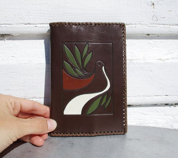 Real Leather Wallet with Dove of Peace Vintage by MerilinsRetro
