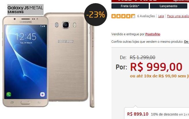 """Samsung Galaxy J5 Duos Metal Dourado com 16GB Dual chip Tela 5.2"""" 4G Câmera 13MP Android 6.0 e Processador Quad Core de 1.2 Ghz << R$ 89910 >>"""