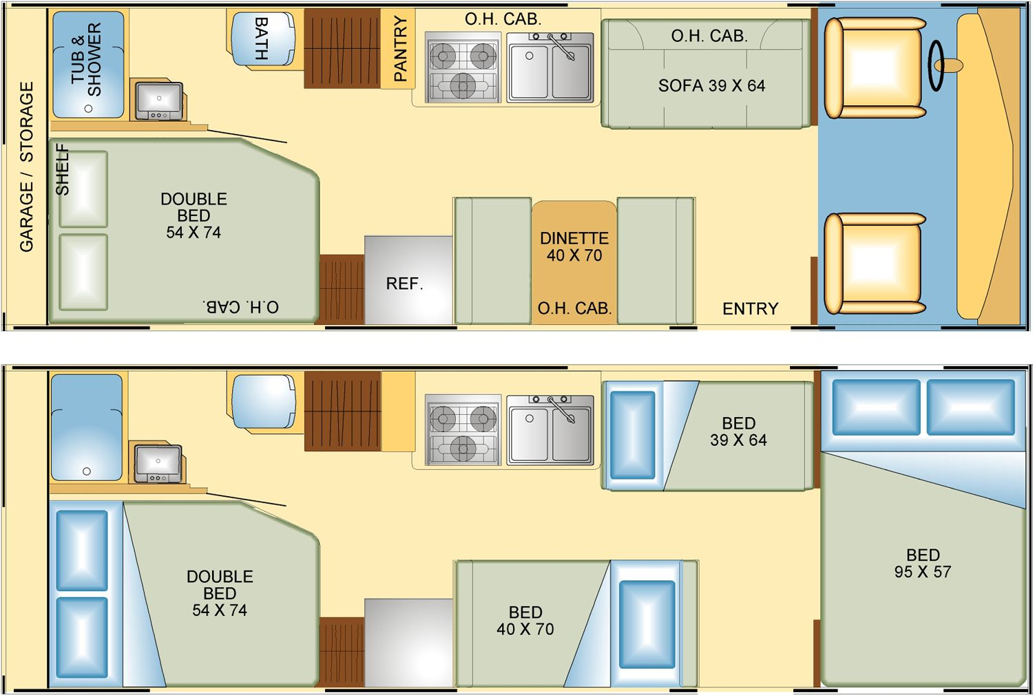 Cool RV Floor Plans Additionally Class A RV With Bunk Beds Floor Plans