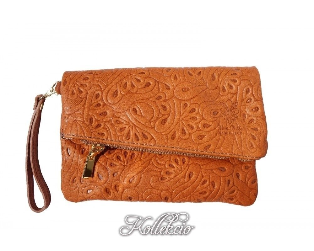 Italian Folded Orange Genuine Leather Clutch with Pattern