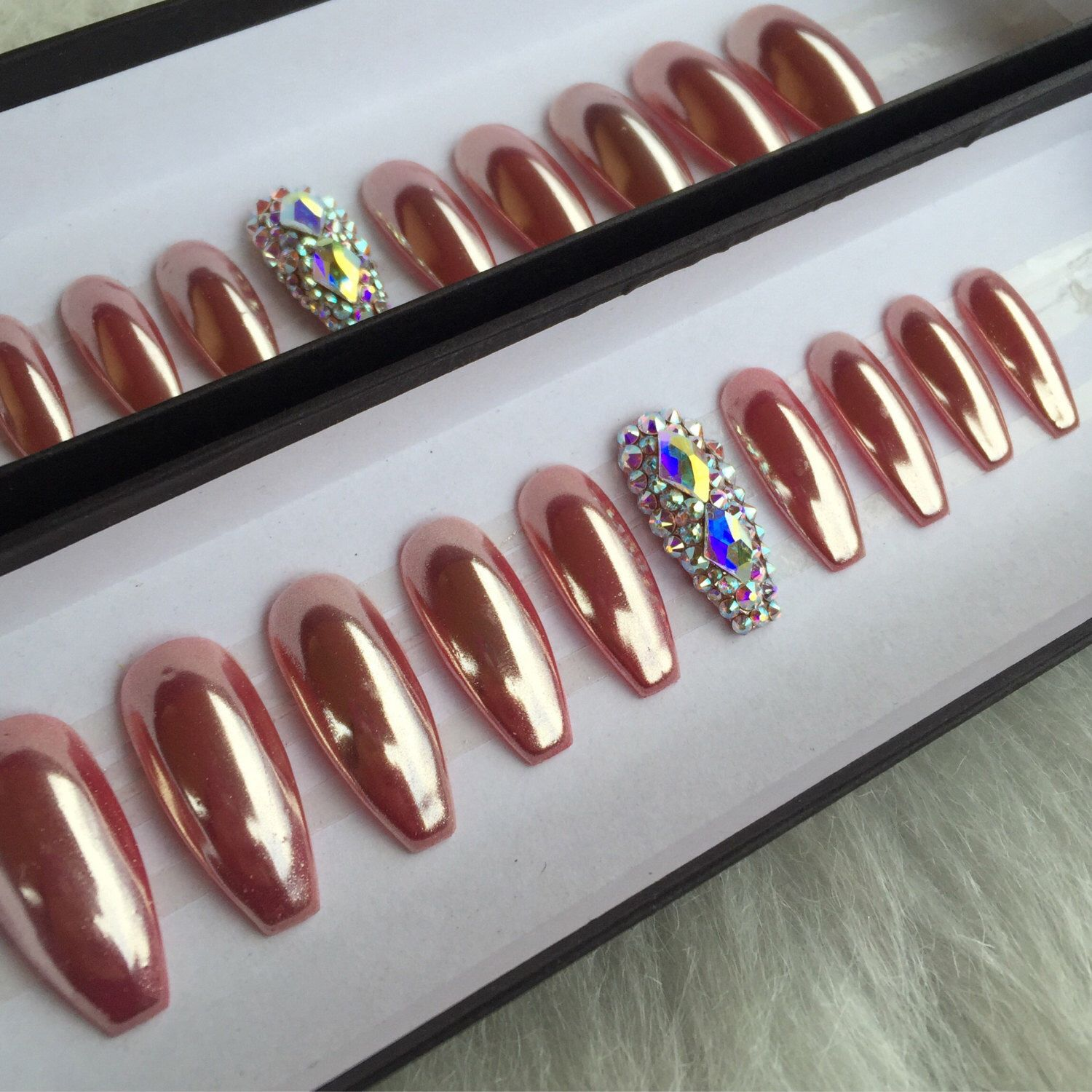 Rose Gold Chrome Press OnNails with 2 Accent Swarovski Nails | Any ...