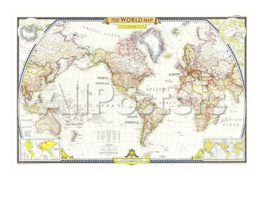 1951 World Map Posters Av National Geographic Maps Pa Allposters