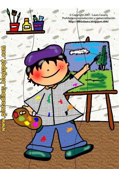Puzzle for preschool, art theme, free printable   Thema kunst voor ...