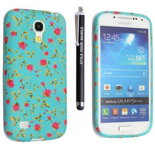 STYLE YOUR MOBILE SAMSUNG GALAXY S4 MINI i9190 VARIOUS DESIGN SILICONE SKIN PROTECTION CASE COVER + FREE STYLU (PINK FLOWER ON GREEN SILICONE), http://www.amazon.co.uk/dp/B00F966GV2/ref=cm_sw_r_pi_awdl_g0cdub064A2GH