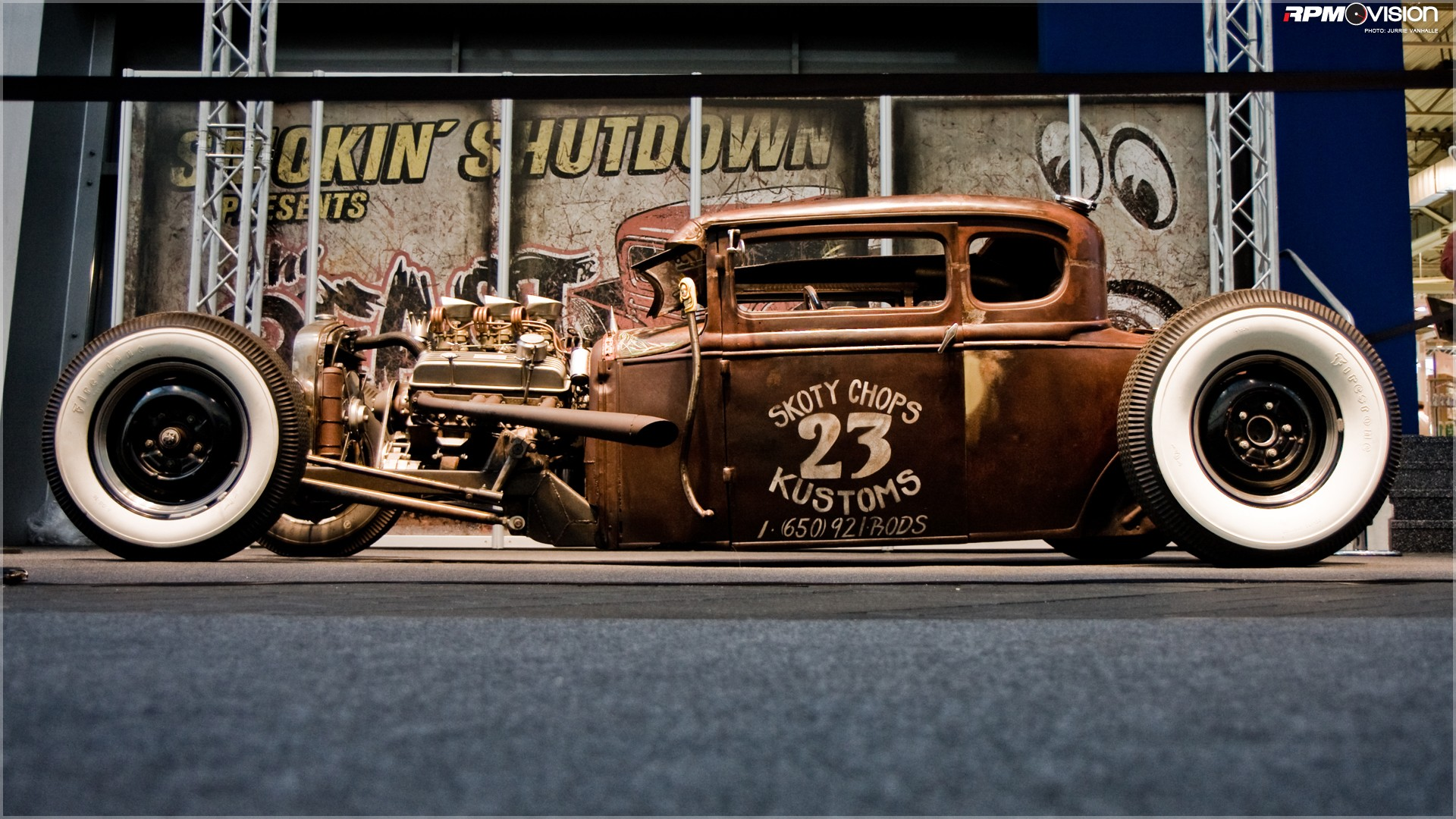Skoty Chops Customs Hot Rod shot at a low angle