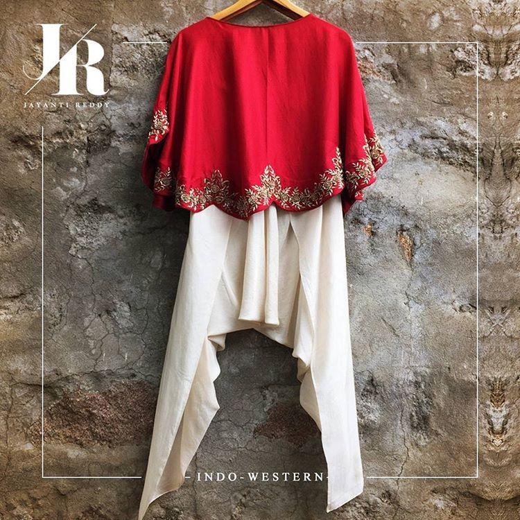 Striking red cape with dhoti pants!  #jayantireddy #jayantireddylabel #hyderabad #hyderabaddesigner #couturier #highendfashion #designerwear #understated #elegance
