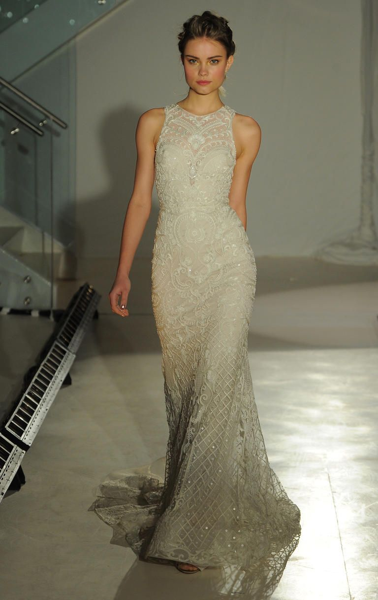 Beaded Column High Neck Wedding Dress For Lazaro Spring 2017