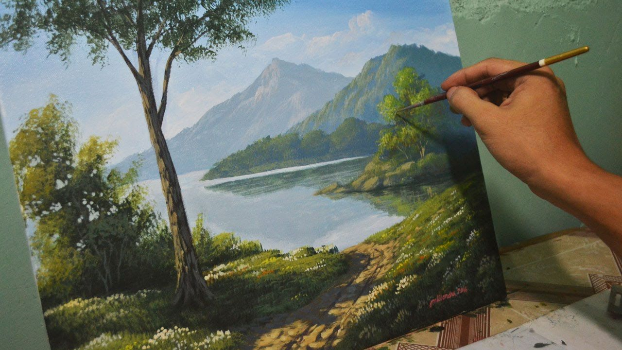 acrylic landscape painting lesson morning in lake by