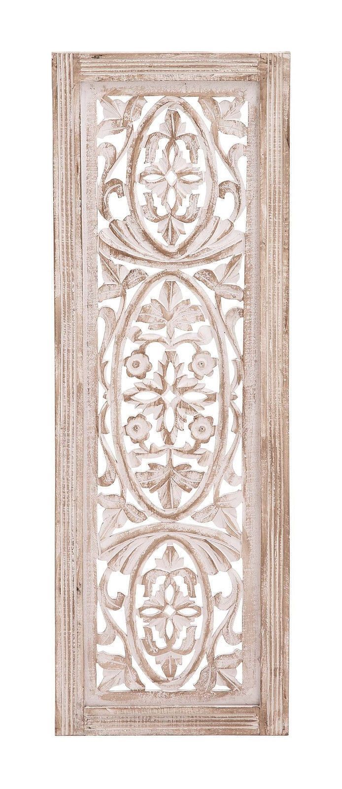 White Washed Carved Wood Wall Art Panel Shabby Country Cottage Chic
