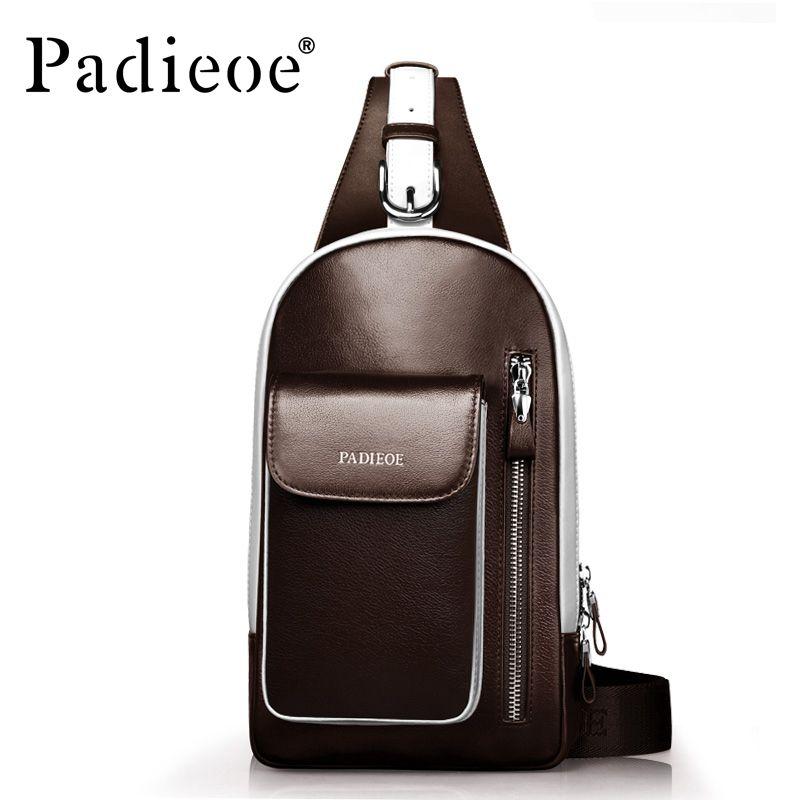 Padieoe Luxury Design Genuine Leather Men s Shoulder Bag Casual Male Chest Bag  Fashion Shoulder Sling Chest bag Crossbody Bags 5b955975a6119
