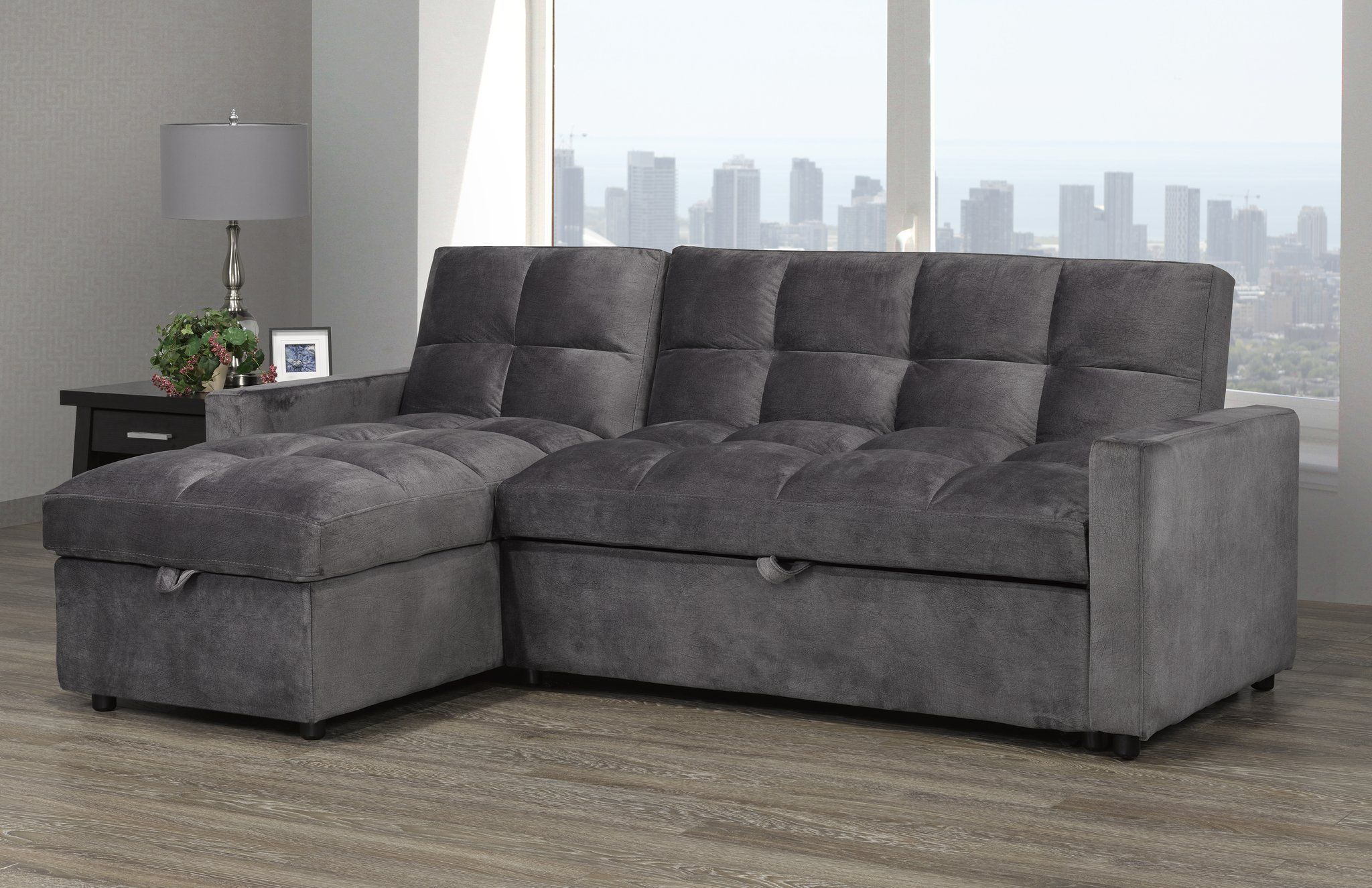 Jayden Sleeper Sectional Grey Velvet Candace And Basil Furniture Candace Basil Furniture In 2020 Storage Chaise Sleeper Sectional Sectional