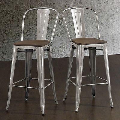 Stool Set Of 2 Metal Bar Height Wood Seat Vintage Rustic