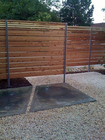 Amazing Front Cedar Screens W/ Poured + Polished Concrete Patio Patio + Fence  Design: Maria