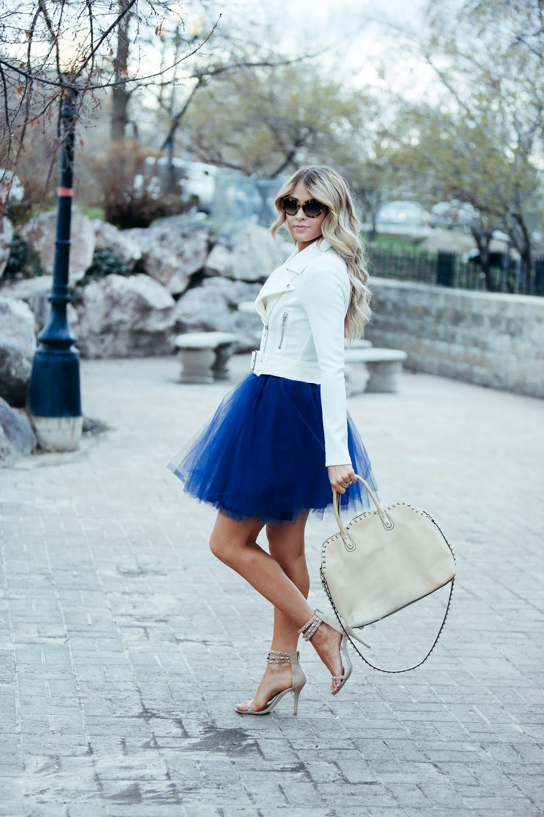 2365e91d798 Add some edge to your tulle skirt outfit by branching out in your colour  scheme and going for a shade of cool blue like Cara Loren!