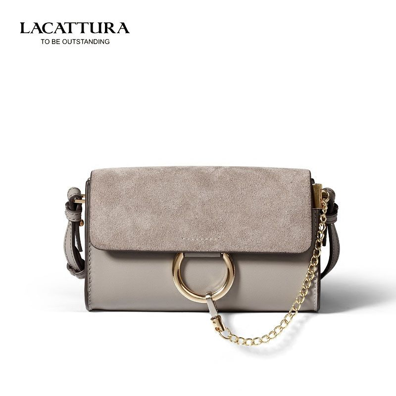 A1352 2017 LACATTURA Brands bags luxury real leather handbags famous crossbody bags for women suede bag hasp metal ring