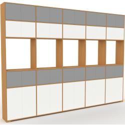 Photo of Wohnwand Eiche – Individuelle Designer-Regalwand: Türen in Weiß – Hochwertige Materialien – 375 x 27