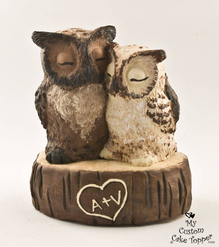 Owl Wedding Cake Topper - Great Horned Owls on a Stump ...