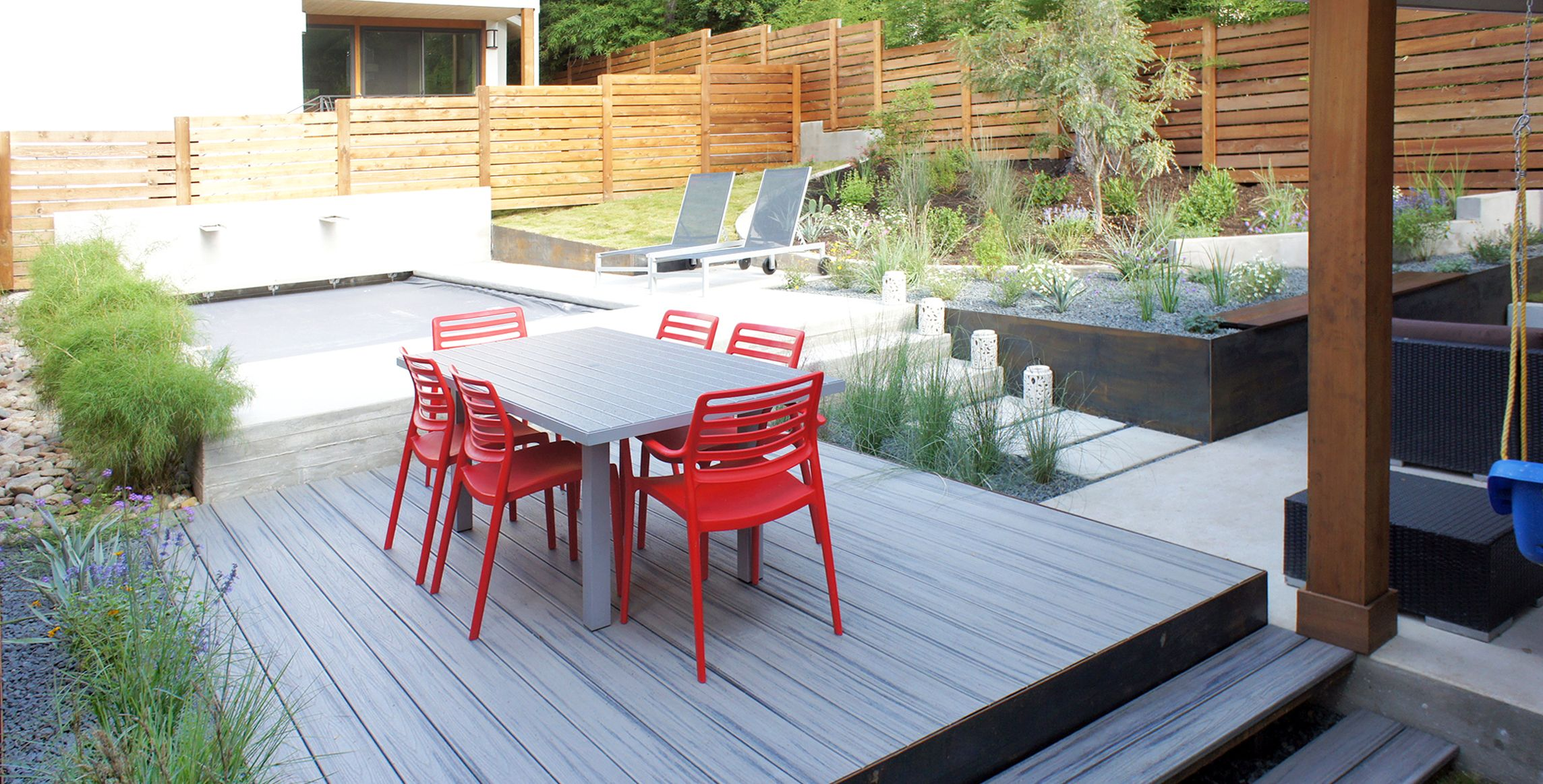 oes thomas residence trex deck in grey concrete pavers steel