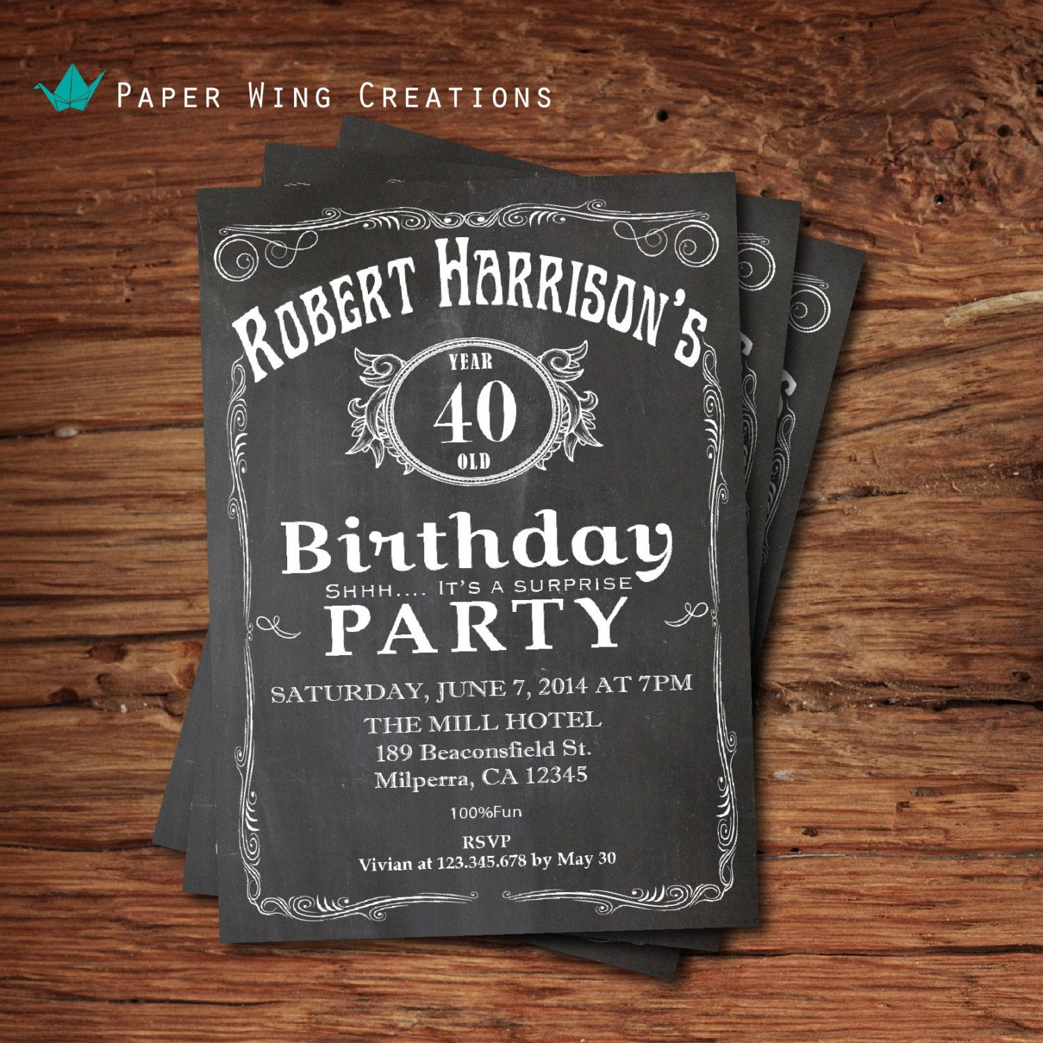 40th Birthday Invitation for men. by ThePaperWingCreation on Etsy ...