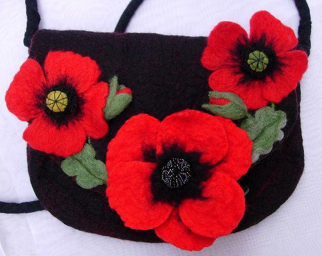 A felted poppy bag