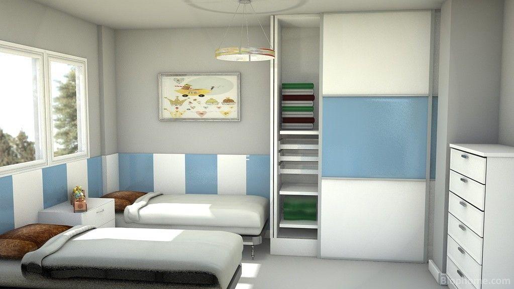Dormitorio juvenil con armario y arrimadero lacados a juego ...