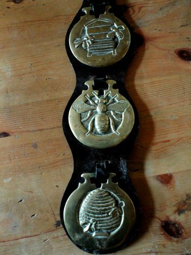 Vintage English Horse Leather With 3 Original Brasses.