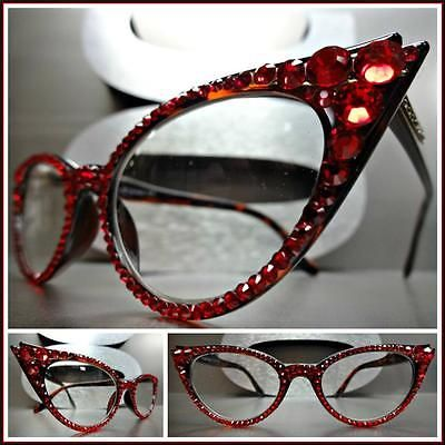 Women/'s VINTAGE RETRO CAT EYE Style Clear Lens EYE GLASSES Red Crystals Handmade