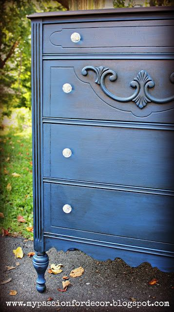 Salvaged Dresser Makeover Using Dark Stain And Rich Blue Paint In 2019 Blue Distressed