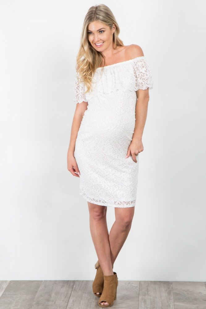 41085a315c34d We love this simple lace maternity dress! This dress will be your new go-to  piece for all occasions this year. Pair this top with block heels and a ...