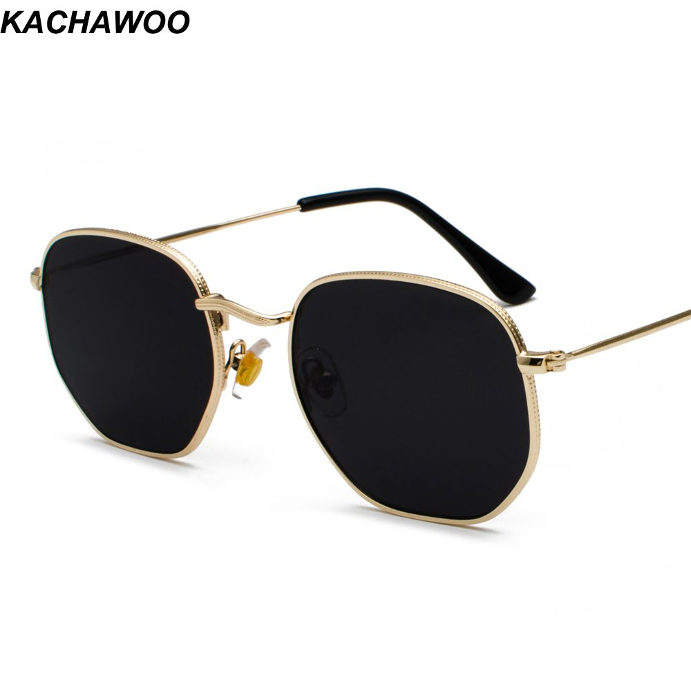 532cbda9b3e24 Kachawoo vintage gold sunglasses men square metal frame silver brown black  small sun glasses female unisex summer style Review