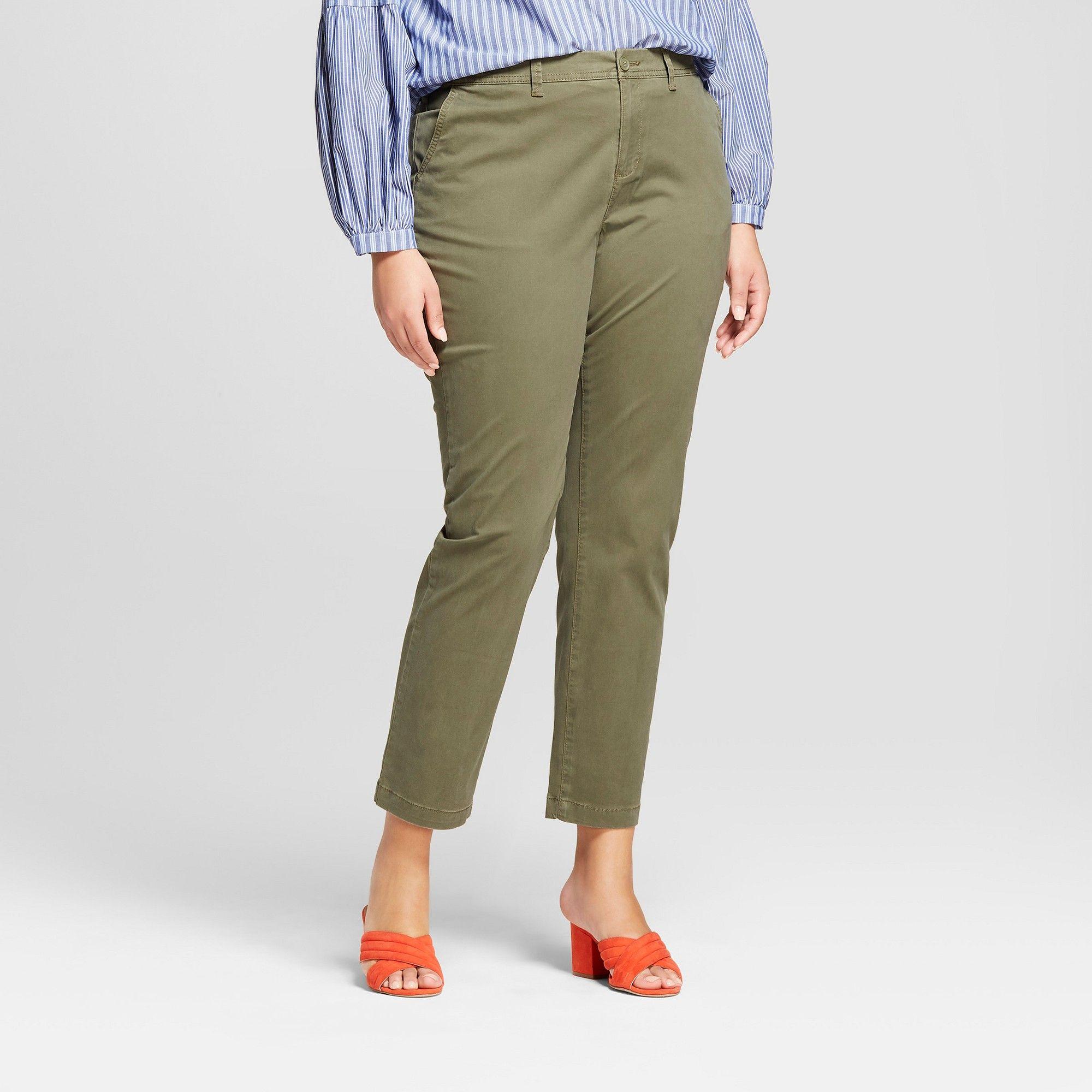 05249579e86e Women s Plus Size Slim Chino Pants - A New Day Olive (Green) 14W ...