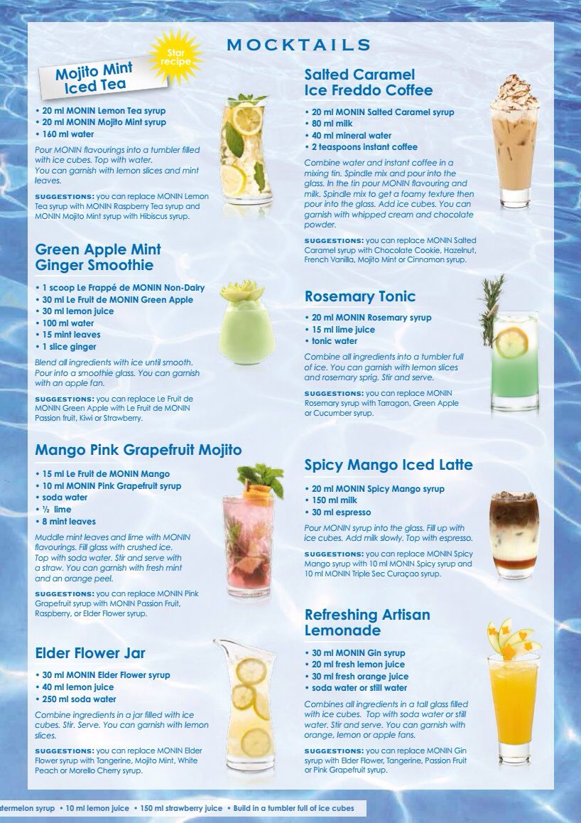 Monin Syrup Cocktail Recipes Alcohol Drink Recipes Mocktail Recipe Soda Recipe