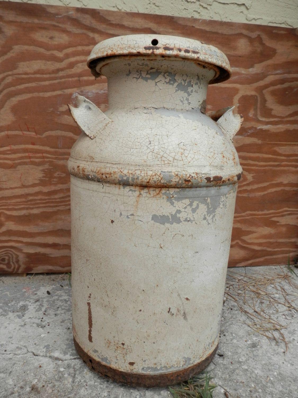 Antique Metal Milk Can Jug With