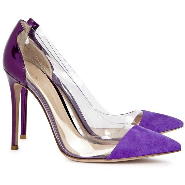 Gianvito Rossi Violet Leather And Perspex Pumps (€255) ❤ liked on Polyvore featuring shoes, pumps, heels, clear pointed toe pumps, metallic pointed toe pumps, leather slip-on shoes, leather pumps and slip on shoes