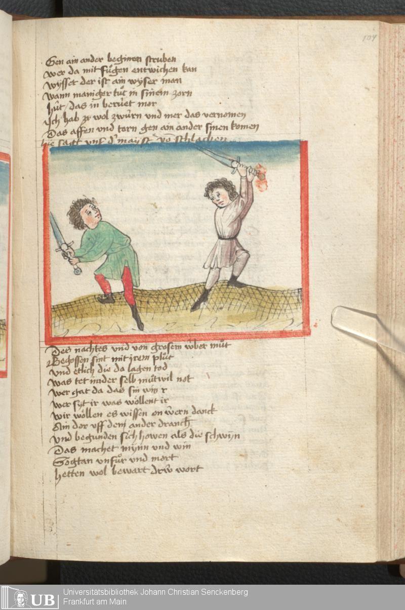 217 [104r] - Ms. germ. qu. 6 - Der Renner - Page - Mittelalterliche Handschriften - Digitale Sammlungen Schwaben, [1446; um 1450]