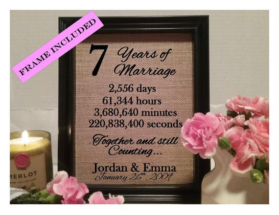 35th Wedding Anniversary Gifts For Parents: Framed 7th Anniversary Gift