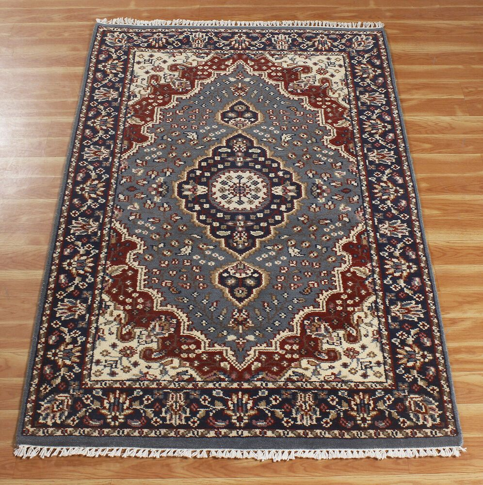 4x6 Hand Knotted Carpet Blue Red Arandol Traditional Rugs Wool Indian Handmade Handmade Traditionaloriental In 2021 Wool Area Rugs Rugs Handmade Area Rugs Hand knotted wool rugs from india