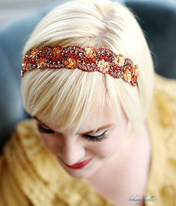 beaded headband, via etsy shop: bethanylorelle -- love these colors!
