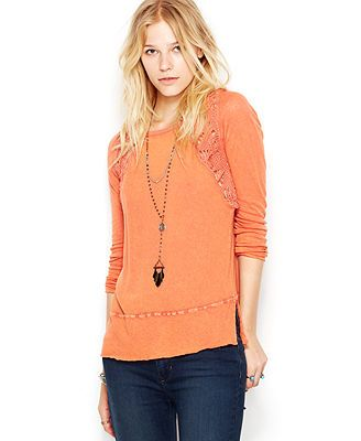 Free People Long-Sleeve Mixed-Media Crochet Sweatshirt