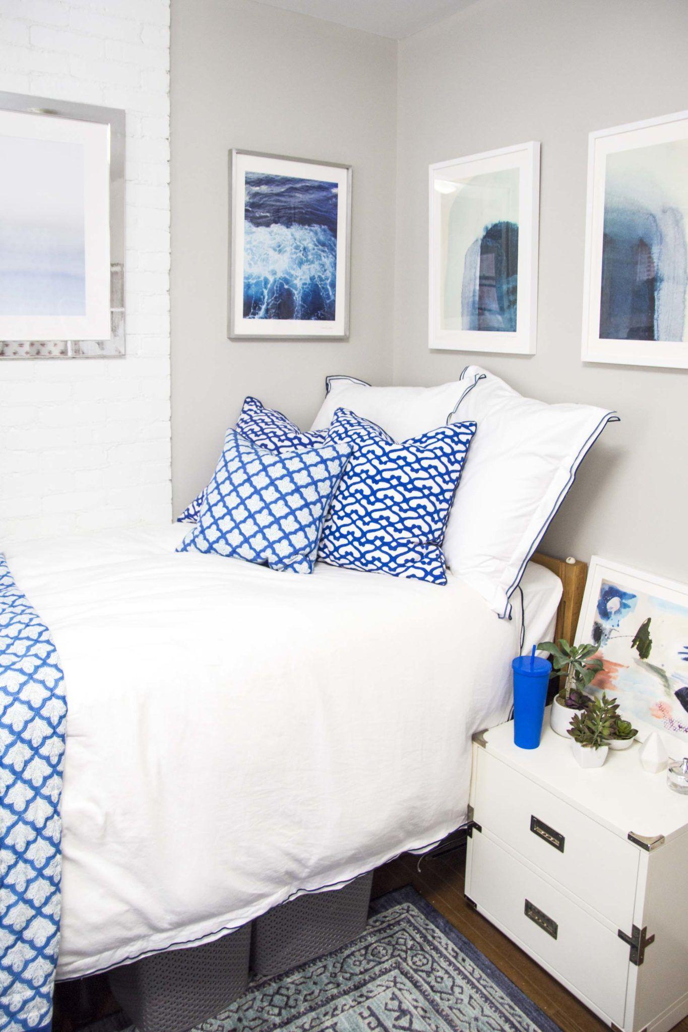 Best Colesy S Blue Dorm Room Reveal White Dorm Room Blue 400 x 300