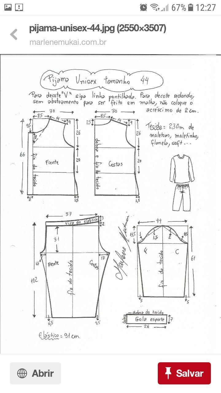 Pin de amina en Amina Patron | Pinterest | Pijama, Molde y Costura