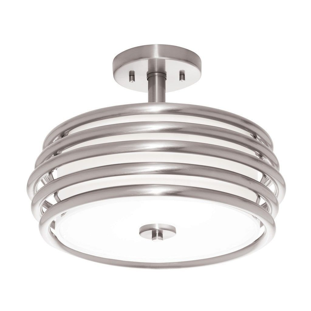 Aztec lighting contemporary light brushed nickel semiflush mount