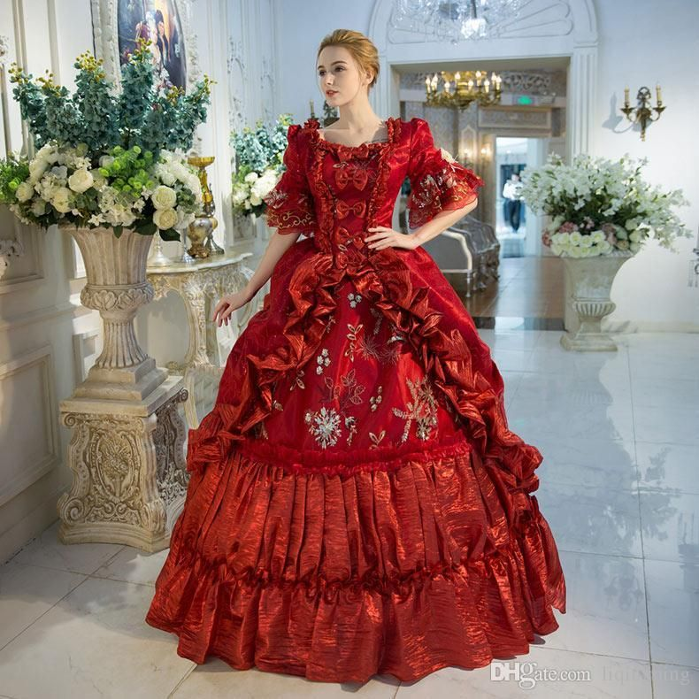 New Arrival Red Rococo Baroque Marie Antoinette Ball Gown Dress 18th  Century Renaissance Historical Period Dress For Women c15216776c8e