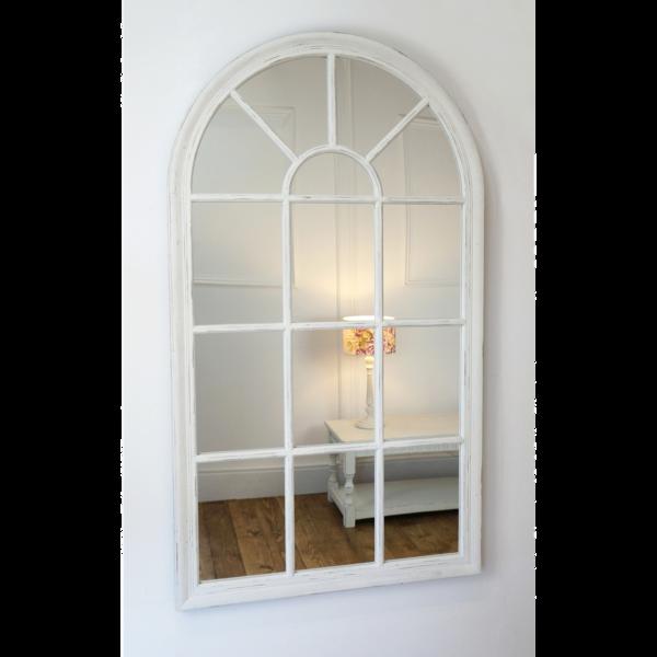 Arabella Vintage White Arched Window Mirror 40 X 24 100cm X 60cm Arched Window Mirror Arched Windows Window Mirror