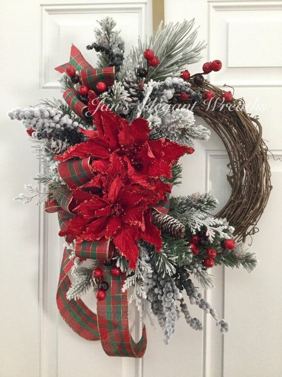 Christmas Wreath Poinsettia Wreath Elegant Christmas Christmas Wreaths Diy Christmas Decorations Rustic Christmas Decorations Wreaths