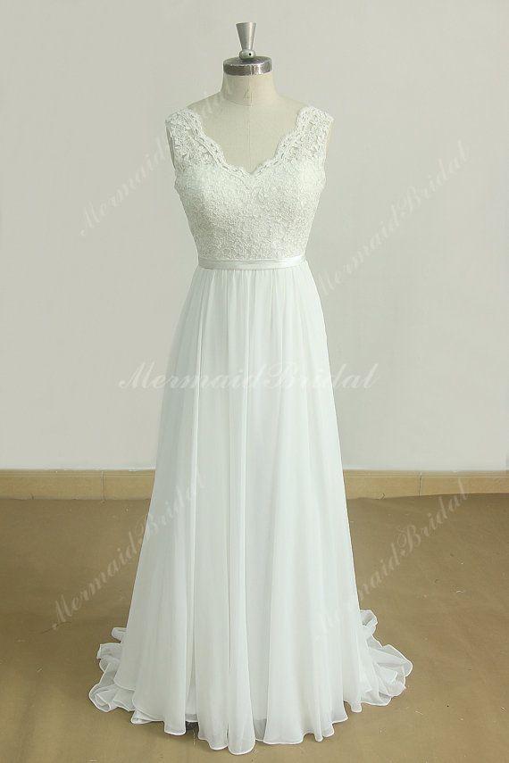 Deep V Neckline Ivory A Line Chiffon Lace wedding dress with scallop ...